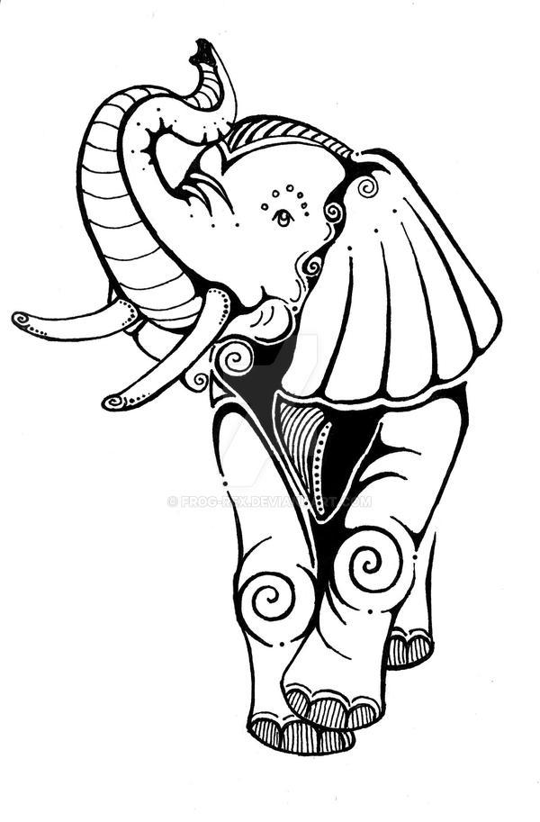 Elephant Drawing Tattoo Elephant Tattoo by Frog Rex