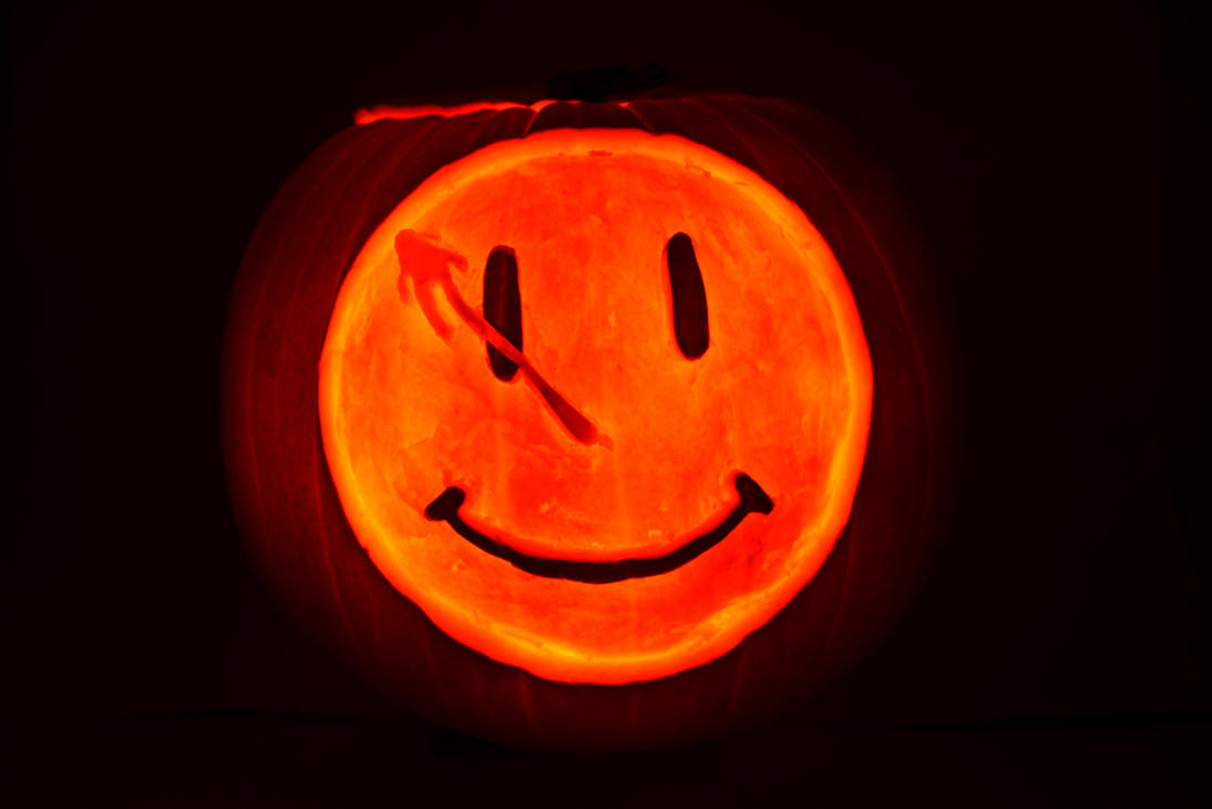 Watchmen Smiley Face Pumpkin by DJdrummer