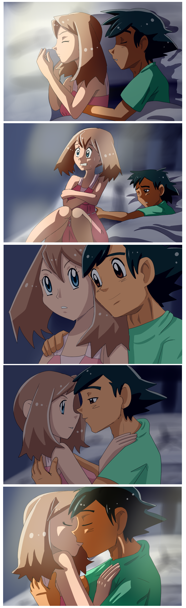 Ash Comforts May Scared Of Thunderstorm By Riadorana On Deviantart
