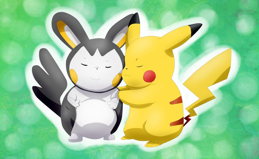 Pregnant Iris' Emolga Pikachu hugs her lovely by Riadorana ...