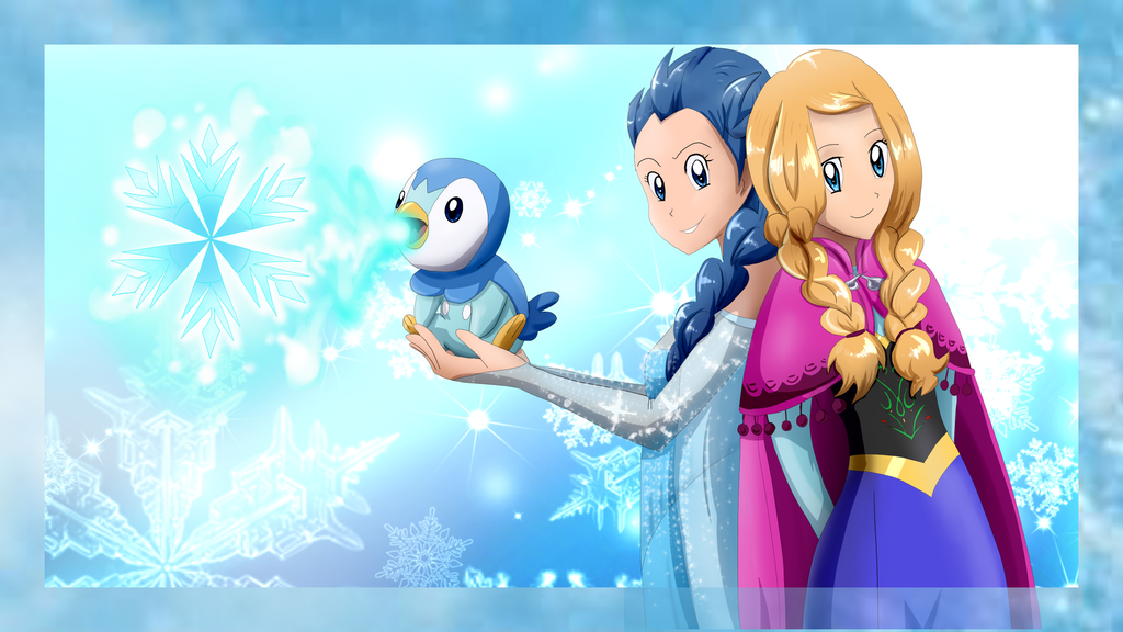 Dawn and Serena Cosplaying Frozen by Riadorana
