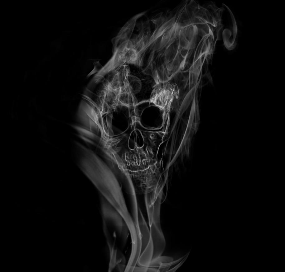 Тату череп из дыма