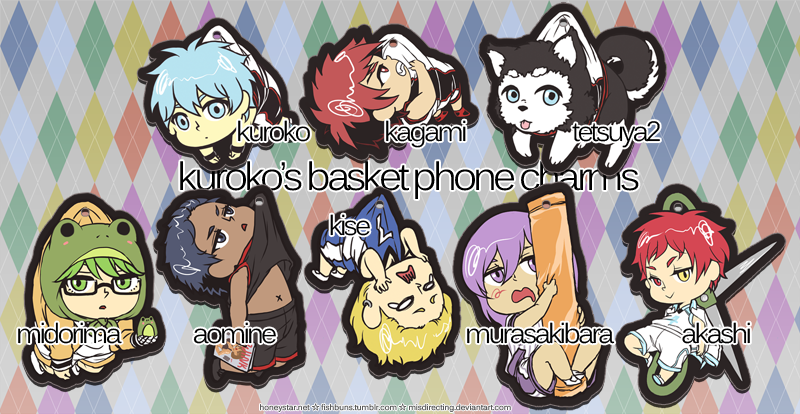 Kuroko's Basket Phone Charms by misdirecting