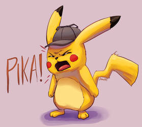 Detective Pikachu says a bad word by JamoART