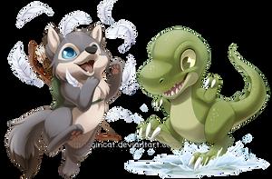 Com: Wolf and Dino by Seyumei