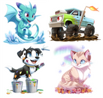 Com: A drag, a truck, a pupper and a kitter