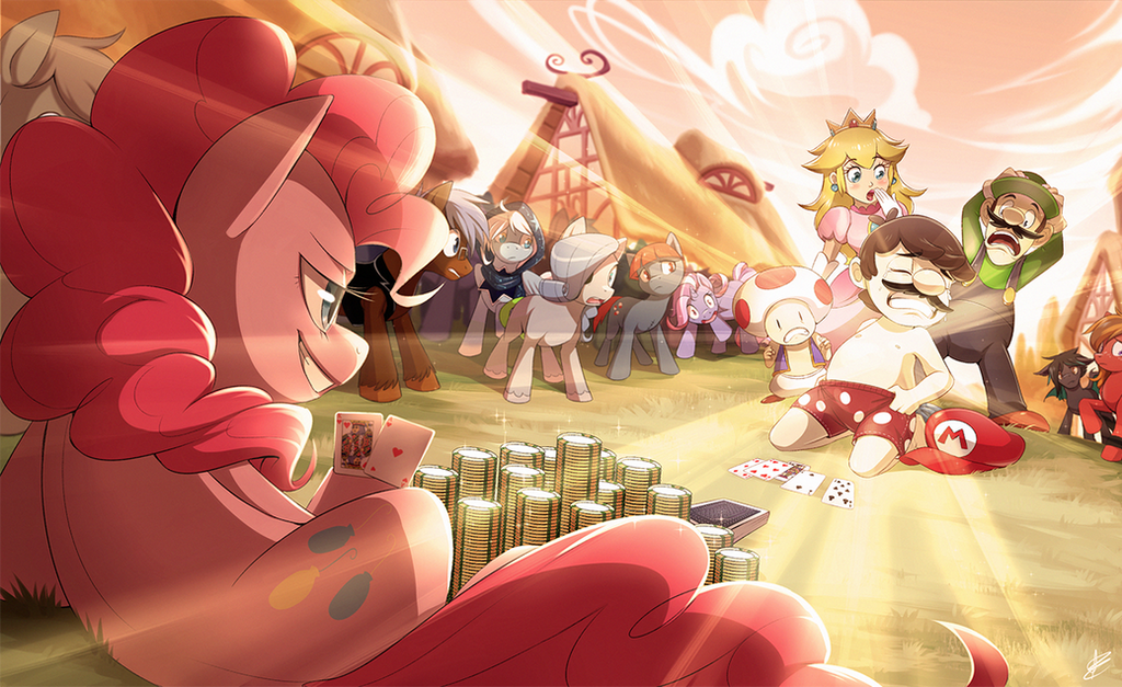 Shirtless Mario in Equestria After Losing a Bet by Seyumei