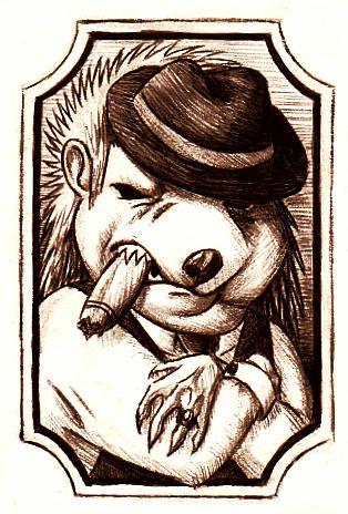 Tattoo design: The Hedgehog mafioso by Dragonixa2
