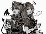 Twins - Inktober 2 by Nerosporin