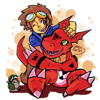 Takato and Guilmon(cell-shaded) by GaFreitasArt