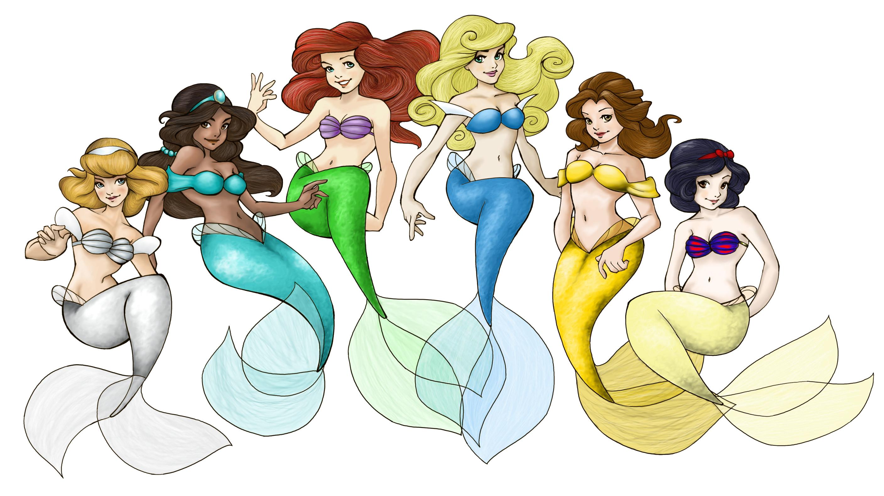 Groupe de Princesses Fanarts. Loish_disney_princesses_by_loulielou