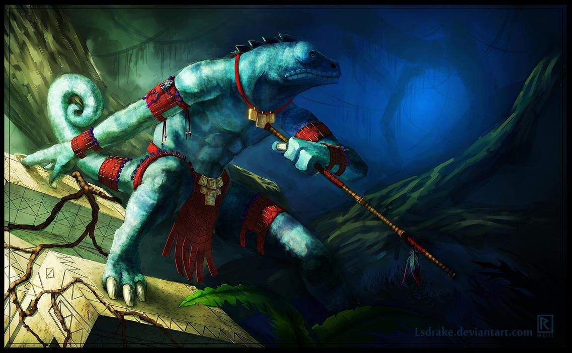[Warhammer Fantasy Battle] Images diverses - Page 2 Chameleon_skink___warhammer_fantasy_fan_art_by_lsdrake-d4ljhcf