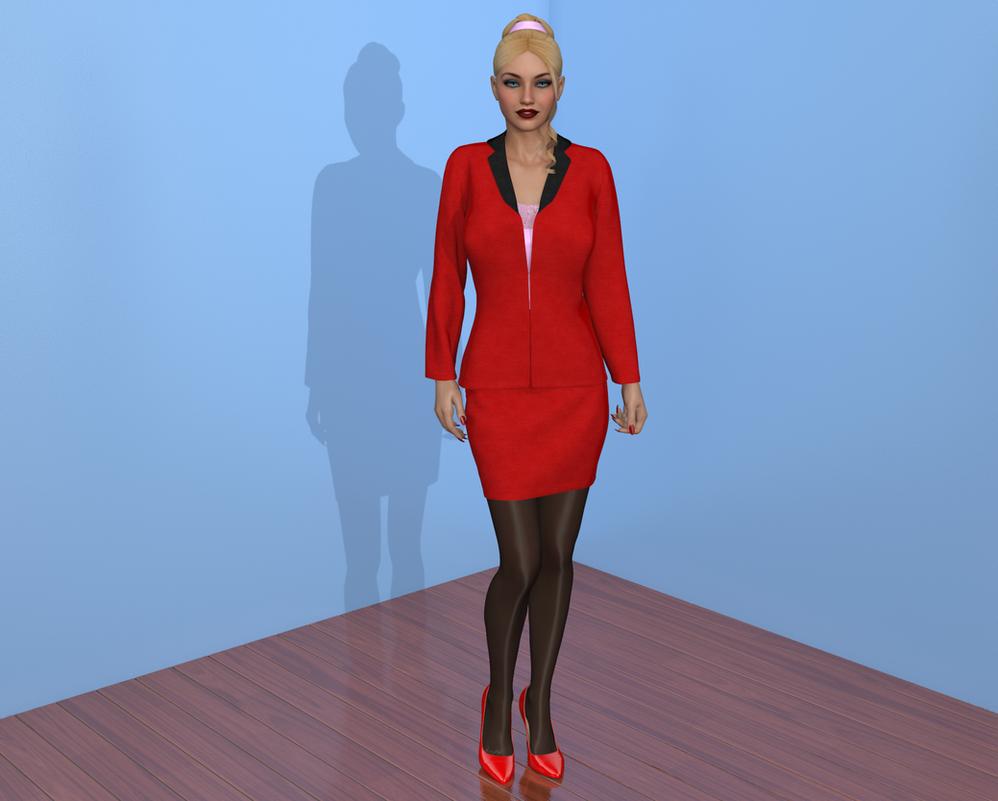 Trisha modelling my new Skirt Suit by AmethystPendant
