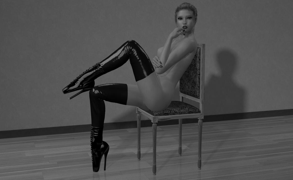 Rubber Ballet Girl (Monochrome) by AmethystPendant