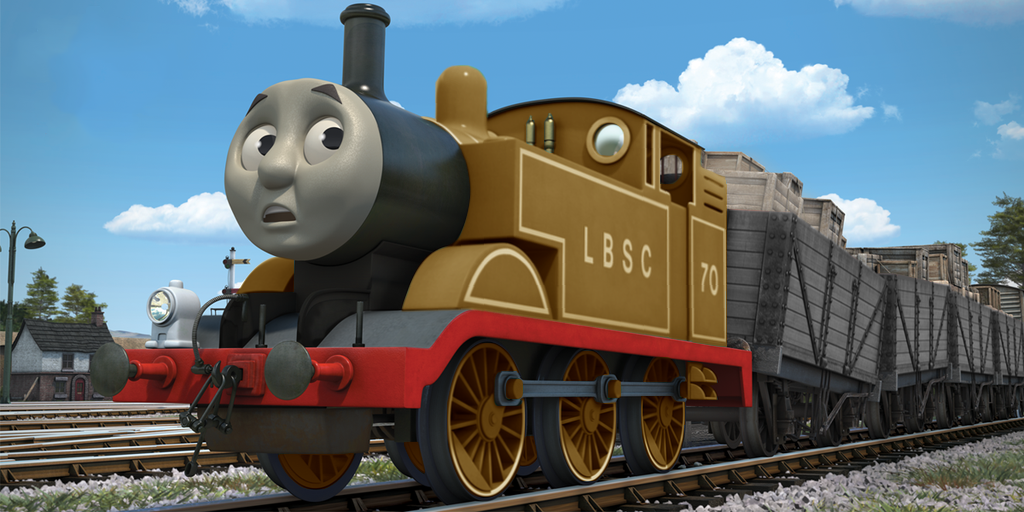 Brown LBSC Thomas having trouble shunting trucks by The ...