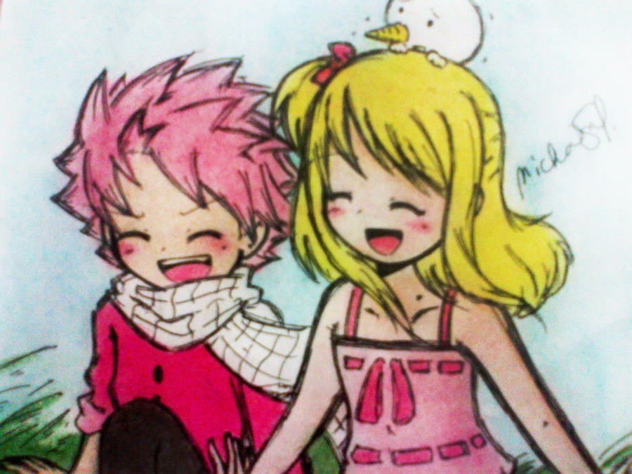 Natsu and Lucy(kids) by nichie123 on DeviantArt