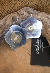 Silver and brass Flower earrings by Sissiwire