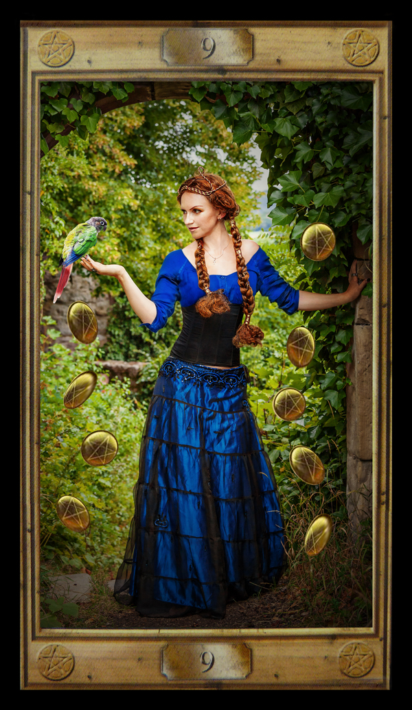 Tarot card: Nine of Pentacles by strekosa on DeviantArt