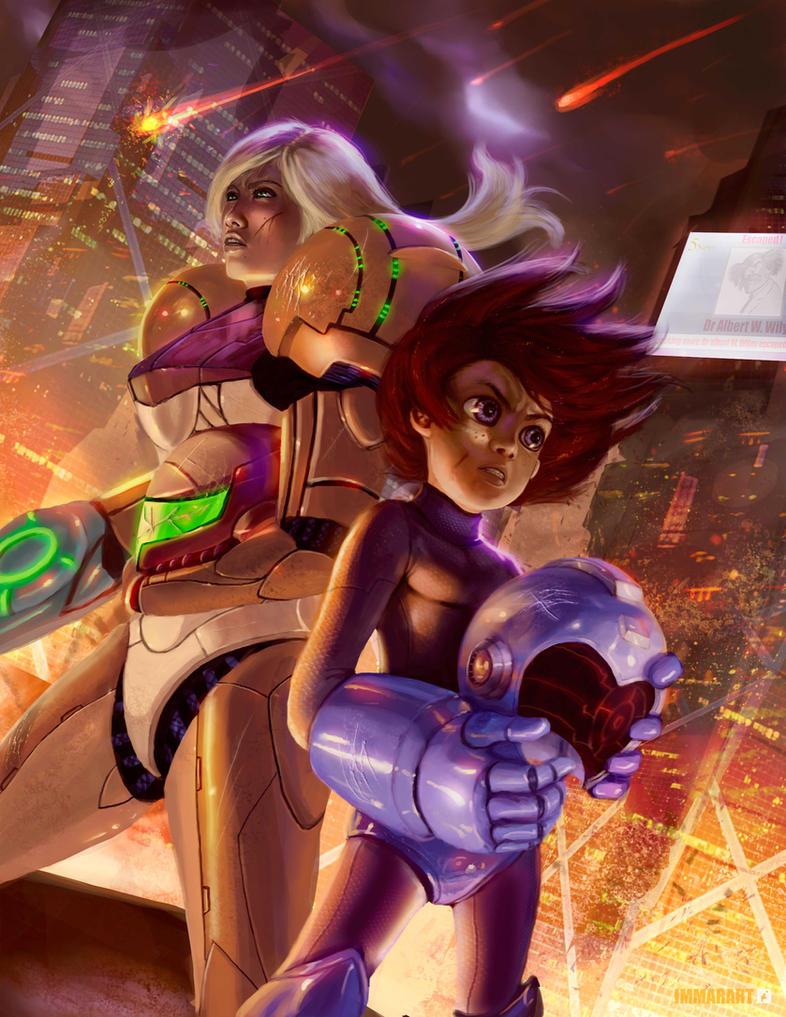 Megaman X Samus by ImmarArt