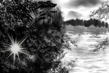 Forest lake by PhoenixShaman