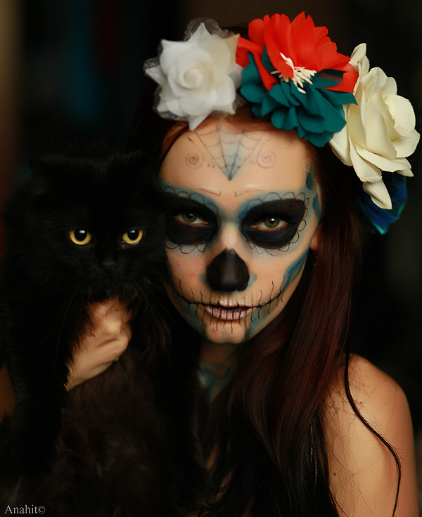 Santa Muerte and cat by VAMPIdor