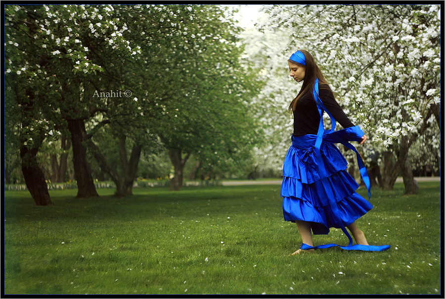 girl in blue in the garden by VAMPIdor