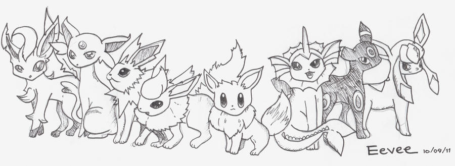 Eevee Evolution Chart Coloring Pages Eevee Evolutions by Sweet-fizz