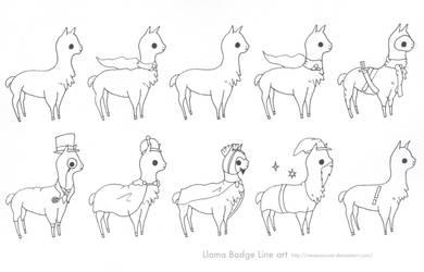 Llama Badge Line art by Sweet-Fizz