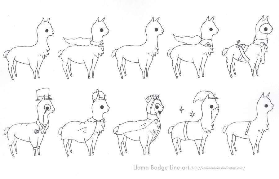 Line Drawing Llama : Llama badge line art by sweet fizz on deviantart