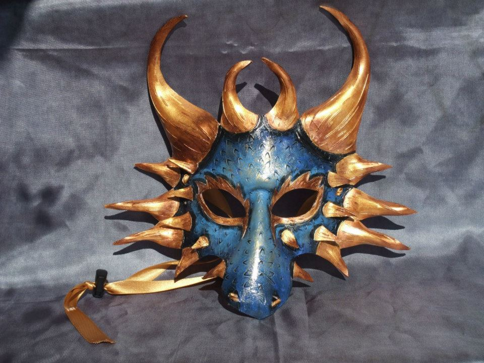 Blue And Gold Dragon Mask by Jedi-With-Wings