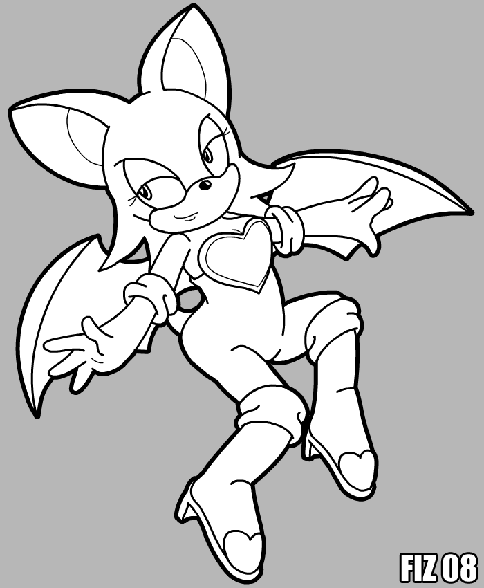 rouge the bat coloring page by fiztheancient