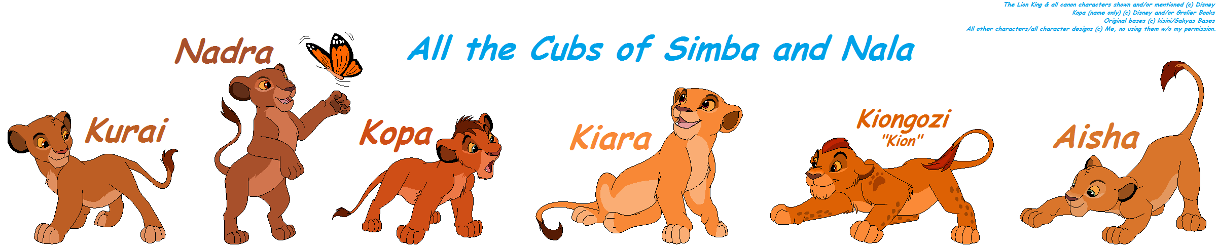All The Cubs Of Simba And Nala By Pacster13 On Deviantart