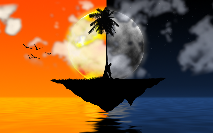 Day and Night-Floating Island by ghese on DeviantArt