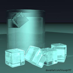 Water and Ice Cubes but it's at night