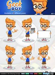 Geek Boy Mascot Character