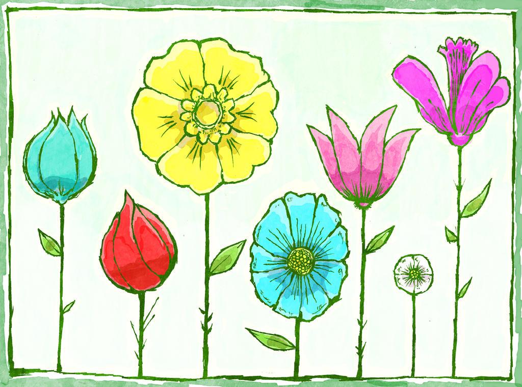 Flowers In A Row by Hanogan