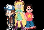 Fan Art~Dipper, Star, and Steven Crossover