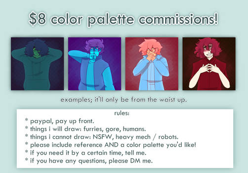 $8 color palette commissions by treesters