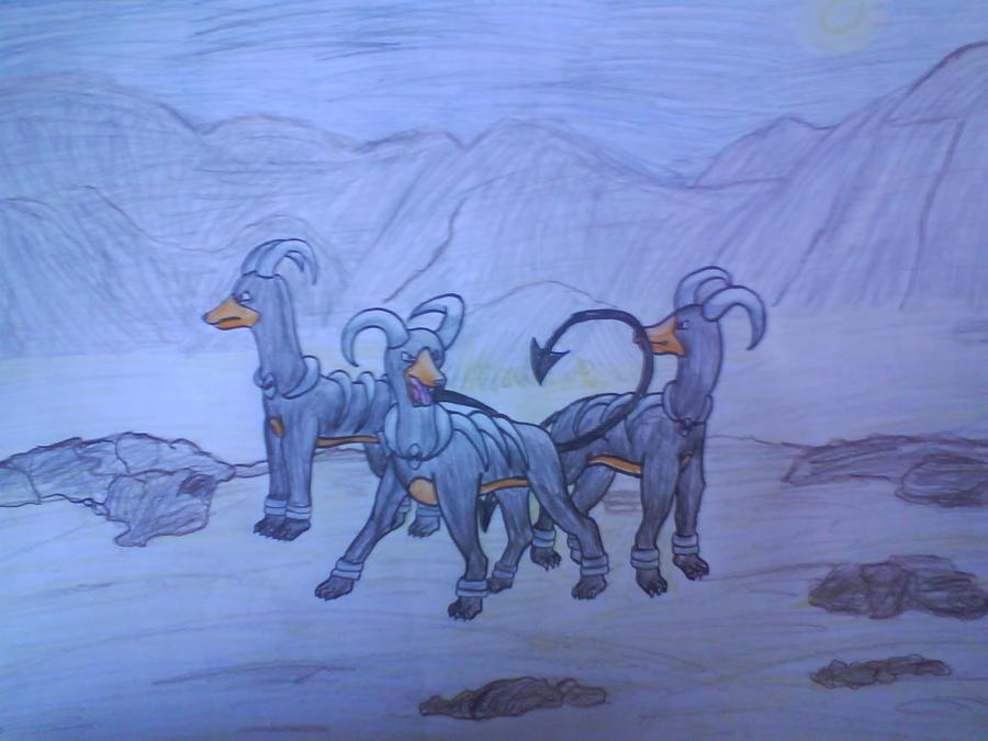 Desert Houndoom Trio by Gold-Ringed-Eyes