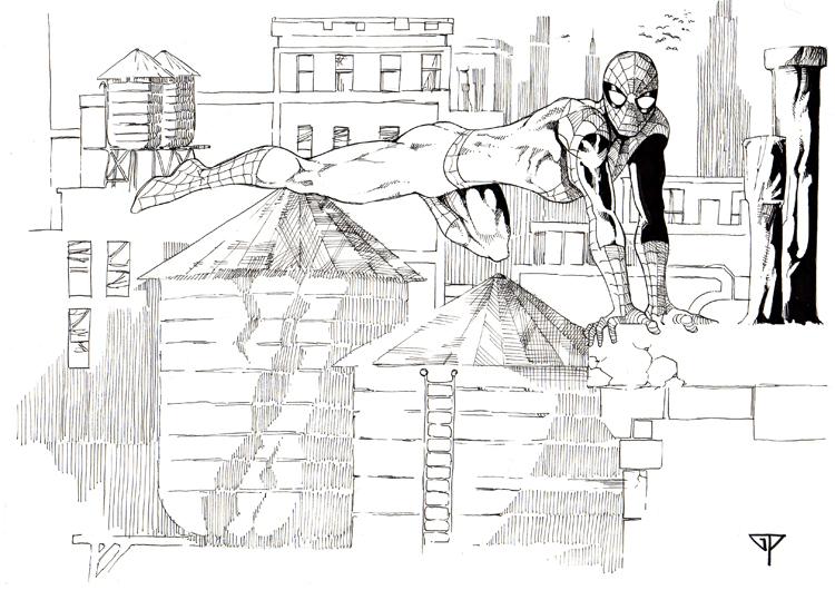 Une petite 3D de Spidey pour la rentrée dans 3D spiderman___ny_rooftops_by_guillomcool-d5mt14t
