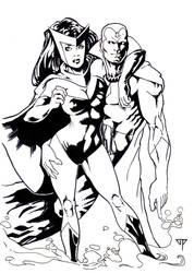 The Vision and Scarlet Witch by guillomcool
