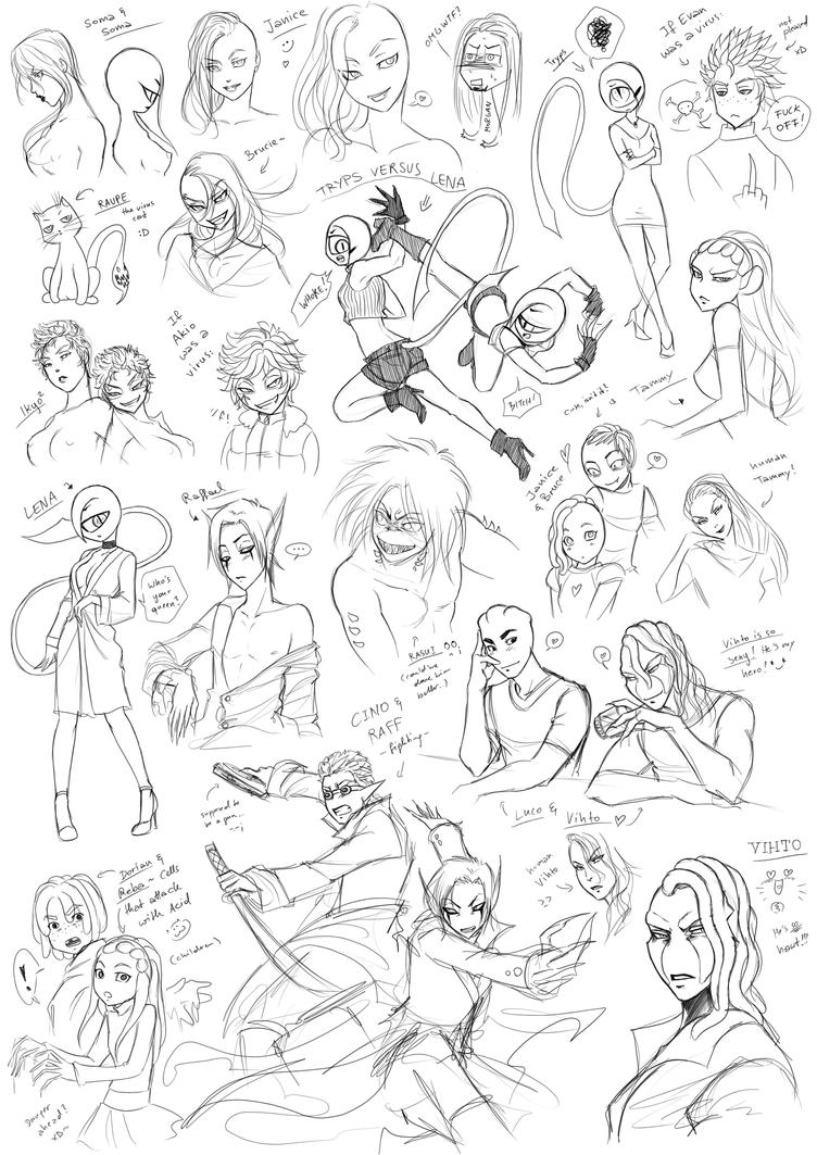 Virus Doodles 4 by Fiji-Fujii