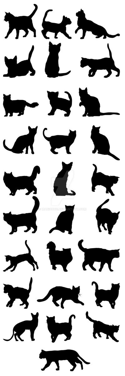 Cats Silhouettes BigPack 2 Jpg-01 by manicobe