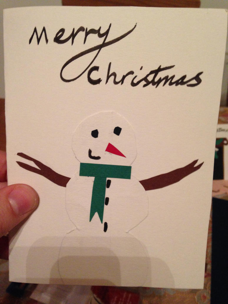 Christmas card design Snowman by The-Isabelle-Brinan