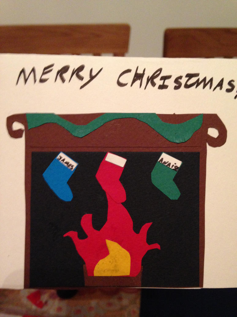 Christmas card design Stockings on an open fire by The-Isabelle-Brinan
