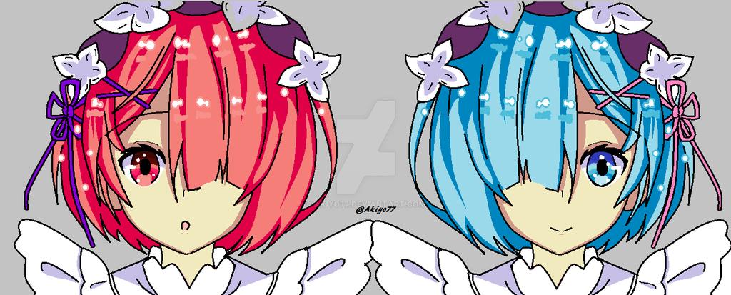 Rem and Ram Fanart by Akiyo77