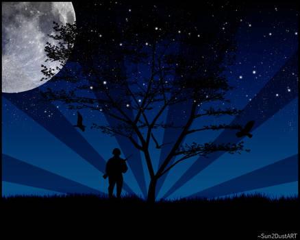 Lonely Soldier in Moonlight by Sun2DustART
