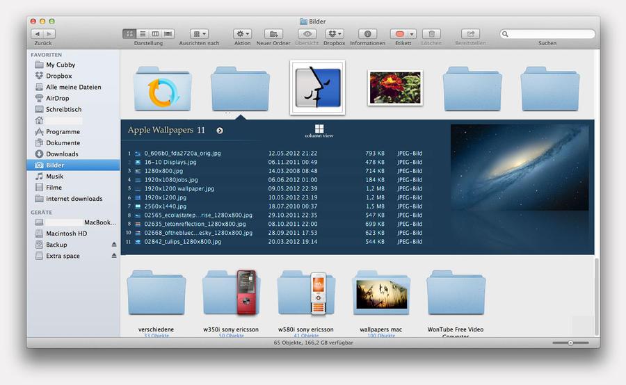 Mac Finder Concept a la iTunes 11