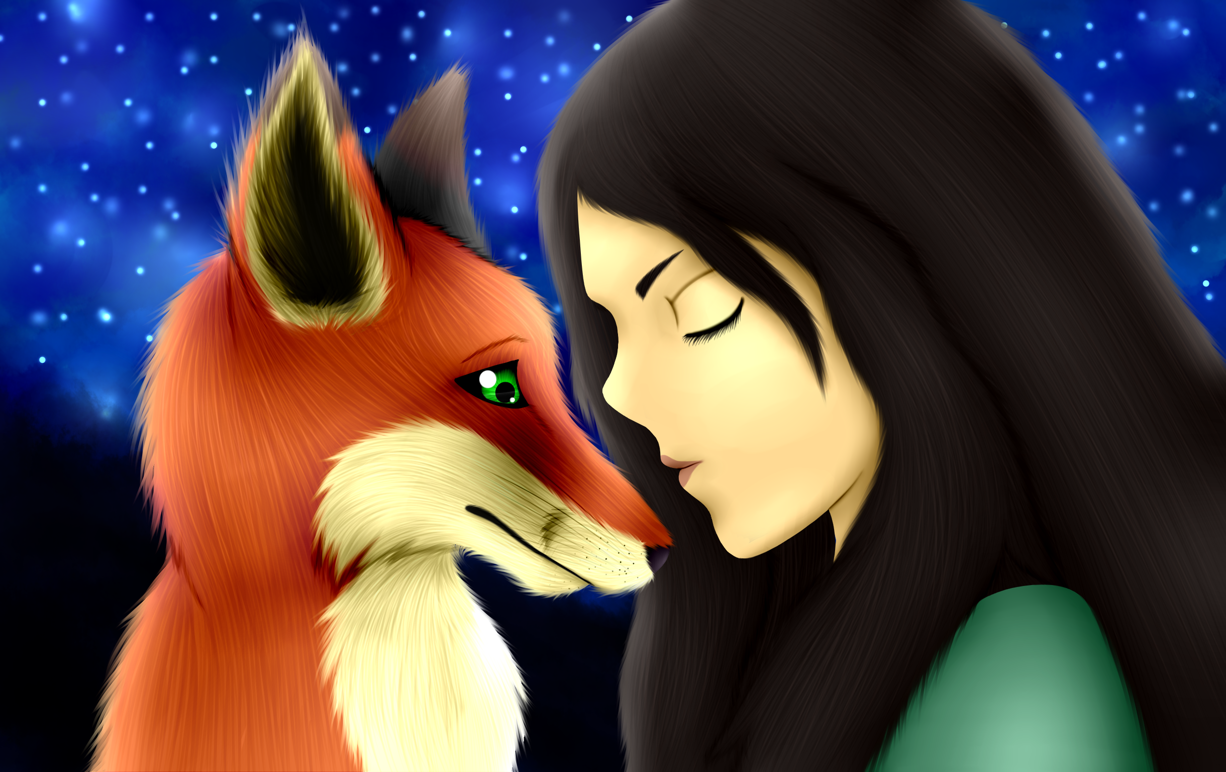 Fox and girl by torikaze