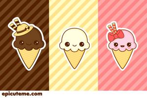 Basic Kawaii Ice cream Set by Tribrush
